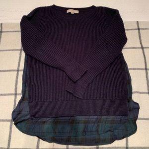 Loft Navy sweater w/ green plaid underlay, size S